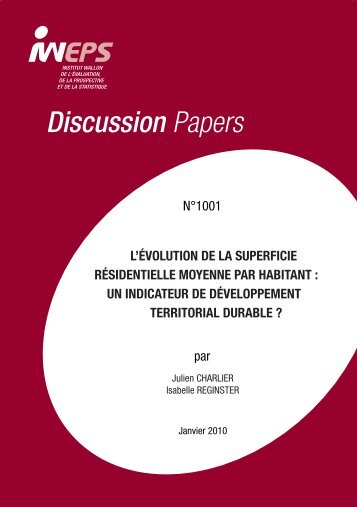 Publication IWEPS : Discussion papers 1001