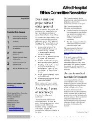 Alfred Hospital Ethics Committee Newsletter - The Alfred Research ...