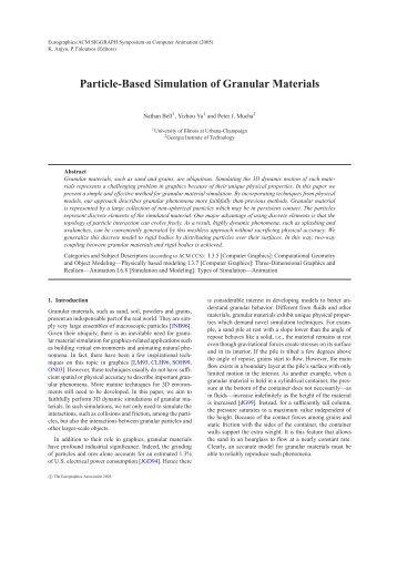 Particle-Based Simulation of Granular Materials