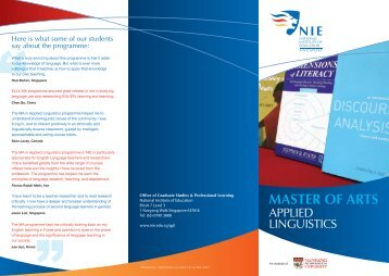 MASTER OF ARTS - National Institute of Education