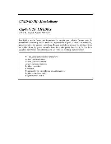 UNIDAD III: Metabolismo Capítulo 26: LIPIDOS
