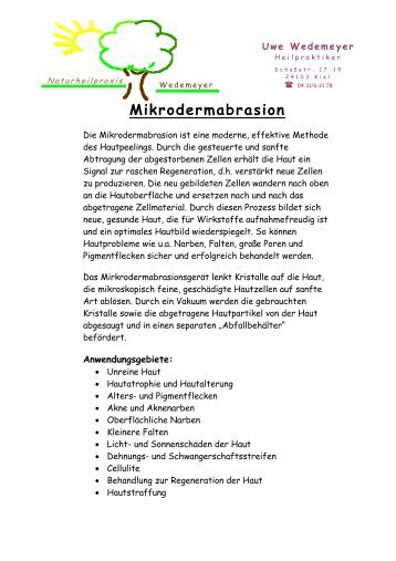 Mikrodermabrasion - Naturheilpraxis Wedemeyer