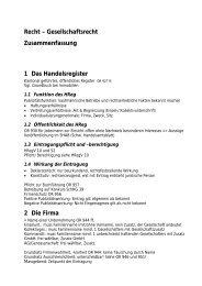 Recht – Gesellschaftsrecht Zusammenfassung 1 Das ...
