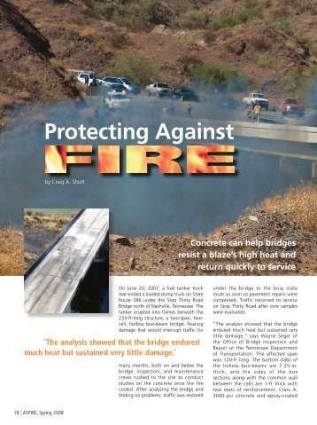 Protecting Against Fire - Aspire - The Concrete Bridge Magazine