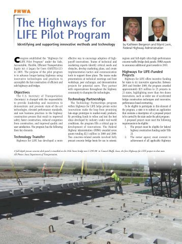 the Highways for LiFE Pilot Program - Aspire - The Concrete Bridge ...