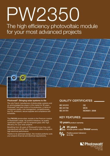 The high efficiency photovoltaic module for your most ... - Activity Solar