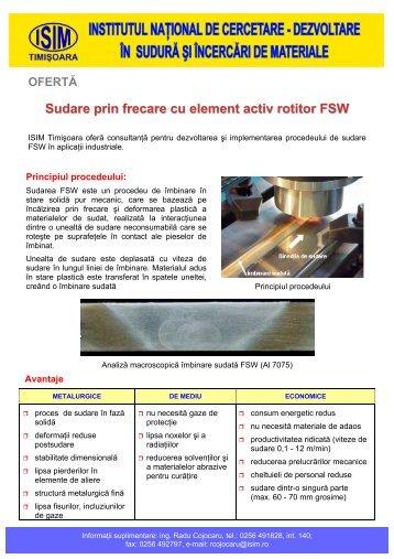 Sudare prin frecare cu element activ rotitor (FSW)