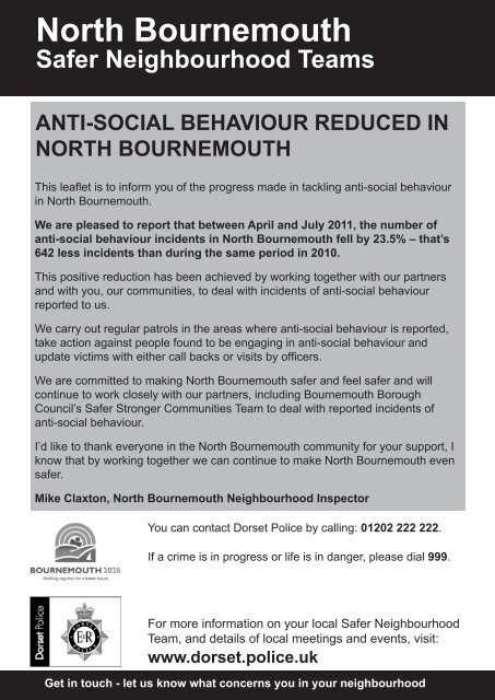 North Bournemouth ASB reduction community leaflet - Dorset Police
