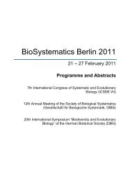 Programme and Abstracts - BioSystematics Berlin 2011