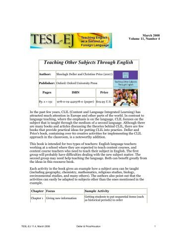 TESL-EJ 11.4 -- Teaching Other Subjects Through English