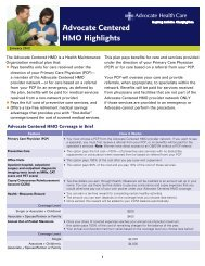 Advocate Centered HMO Highlights - Advocate Benefits