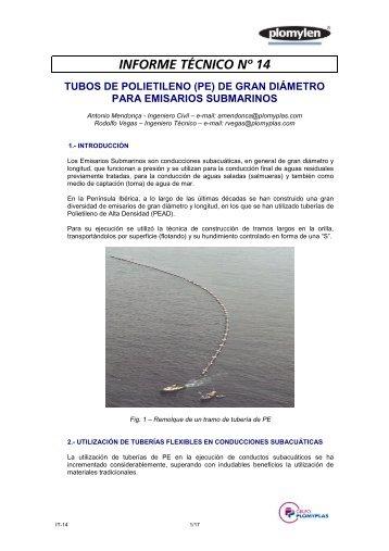 informe técnico nº 14 tubos de polietileno (pe) - Plomyplas