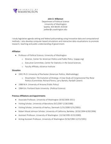 curriculum vitae garrett glasgow department of political science