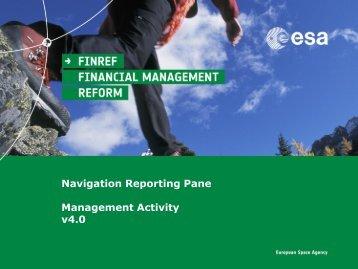 Navigation Reporting Pane - esa-p