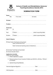 form attached - School of Health & Rehabilitation Sciences