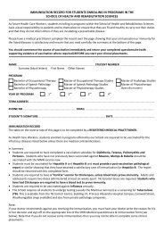 Immunisation Form - School of Health & Rehabilitation Sciences
