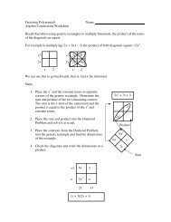 Algebra Connections Worksheet Recall that when using generic ...