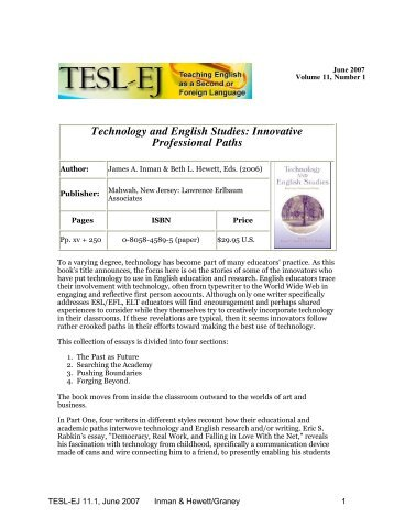 Technology and English Studies: Innovative Professional ... - TESL-EJ