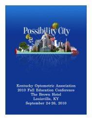 2010 Fall Conference Program - Kentucky Optometric Association