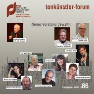 tonkünstler-forum September 2012 #86 Neuer Vorstand ... - pcmedien