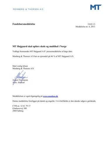 MT Højgaard skal opføre skole og multihal i Norge - Monberg ...