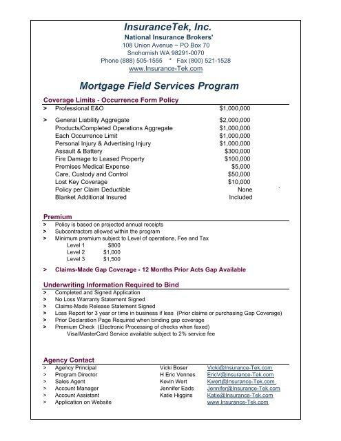 Mortgage Field Services Program Insurance Tek Com