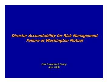 """Director Accountability for Risk Management Failure at Washington ..."