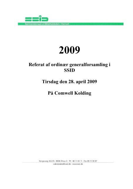 SSID Referat fra generalforsamling 2009