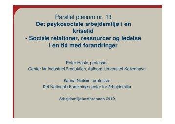 Sociale relationer, ressourcer og ledelse i en tid med for