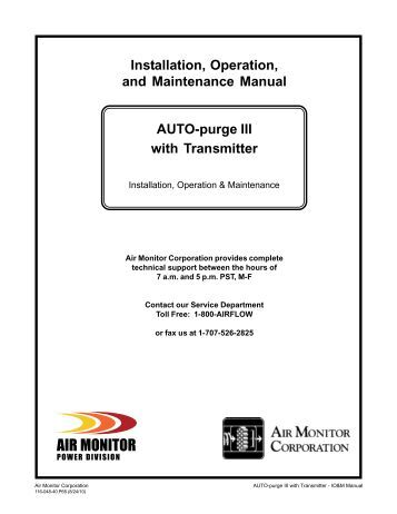AUTO-purge III w/ Transmitter IOM Manual - Air Monitor Corporation