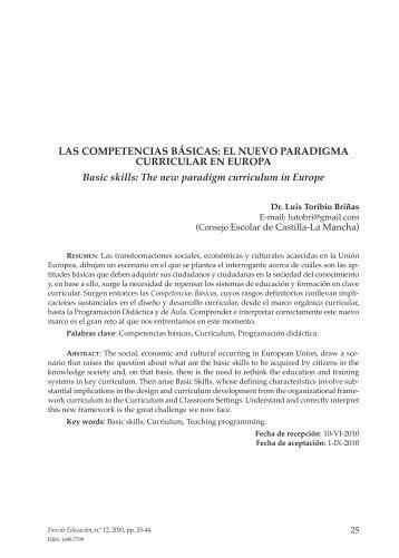 Las competencias básicas: el nuevo paradigma curricular en Europa
