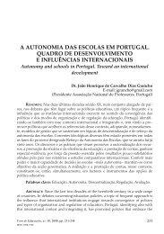 a autonomia das escolas em portugal. quadro de desenvolvimento ...