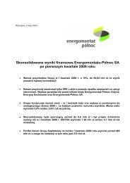 Skonsolidowane wyniki finansowe Energomontażu-Północ SA po ...