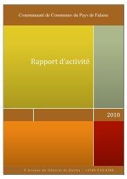Rapport d'activité 2010 - Communauté de Communes du Pays de ...