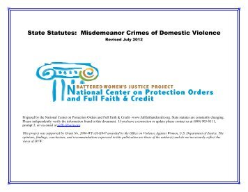 State Statutes Misdemeanor Crimes of Domestic Violence (MCDV)