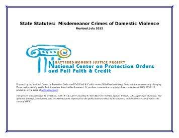 State Statutes Misdemeanor Crimes of Domestic Violence (MCDV)