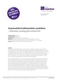 Systematiskt kvalitetsarbete i praktiken – ledarskap i ... - InfoMentor
