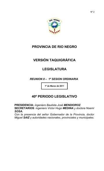 provincia de rio negro versión taquigráfica legislatura 40º periodo ...