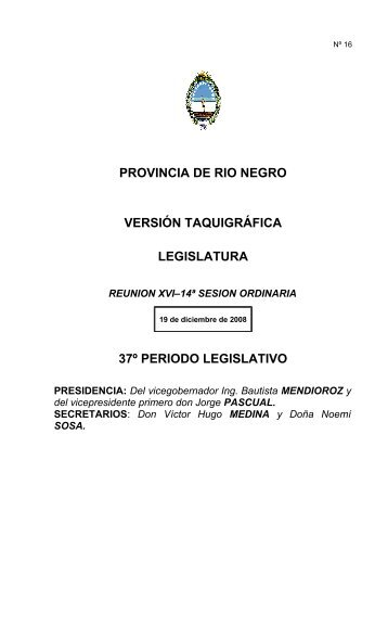 provincia de rio negro versión taquigráfica legislatura 37º periodo ...