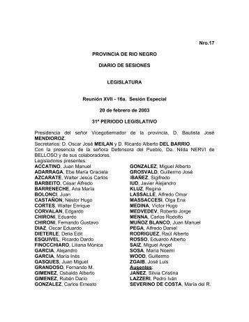 Nro.17 PROVINCIA DE RIO NEGRO DIARIO DE SESIONES ...