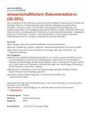 wissenschaftliche/n Dokumentalist-in (20-30%) - naturschutz.ch, Natur