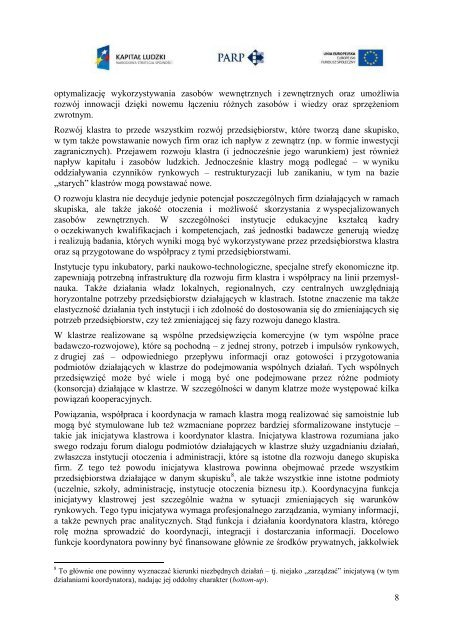 Wizja klastrów i polityki klastrowej w Polsce do 2020 wersja II ...