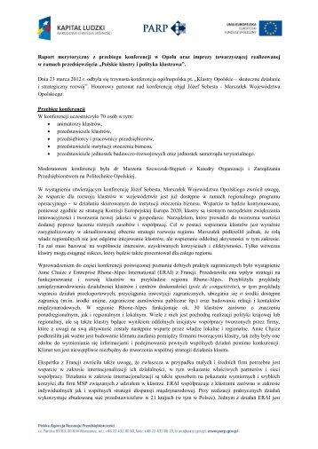 Raport merytoryczny z przebiegu konferencji w Opolu oraz imprezy ...