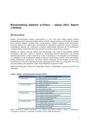Streszczenie Raportu Benchmarking klastrów w Polsce – edycja 2012