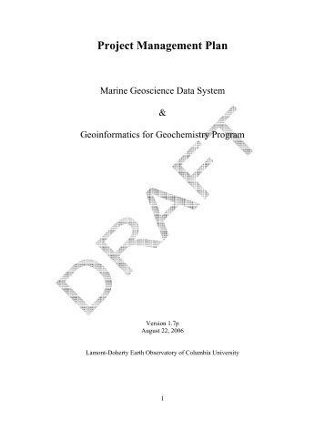 Project Management Plan - Marine Geoscience Data System