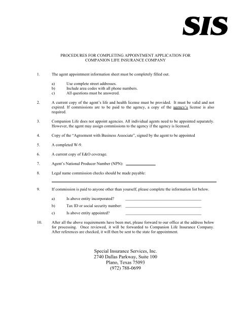Agent Appointment Form - Special Insurance Services