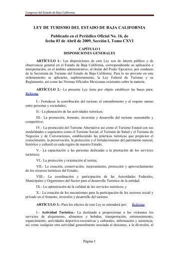 Ley de Turismo del Estado de Baja California - Gobierno del Estado ...
