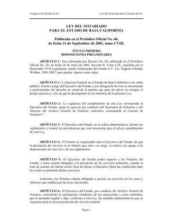 LEY DEL NOTARIADO PARA EL ESTADO DE BAJA ... - Tijuana