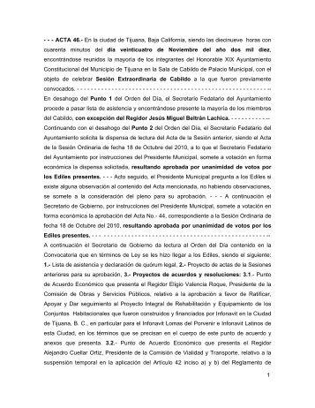 1 - - - ACTA 46.- En la ciudad de Tijuana, Baja California, siendo las ...