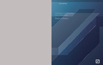 Verzeichnis der Mandate List of Mandates - Deutsche Bank